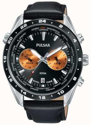 Pulsar Herren Dual Time schwarzes Zifferblatt schwarzes Lederarmband PY7015X1