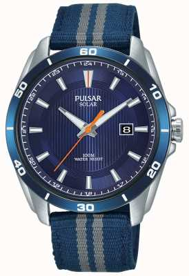 Pulsar Solarblaues Herren Zifferblatt blaues Nylonarmband PX3177X1