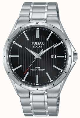 Pulsar Herrenarmband mit schwarzem Zifferblatt aus Edelstahl PX3117X1