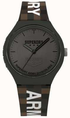 Superdry | mens urban xl | zweifarbiges Silikonband | Rotguss grau SYG251E