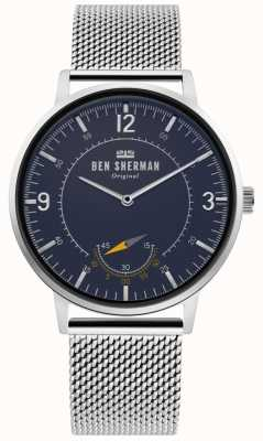 Ben Sherman | herren portobello erbe | blaues Zifferblatt | Silbergeflecht | WB034USM