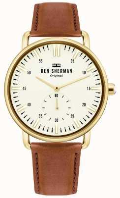 Ben Sherman | Herren Brighton City | braunes Lederarmband | weißes Zifferblatt | WB033TG