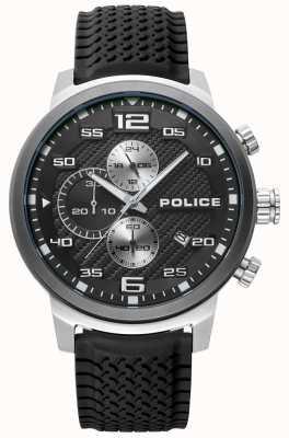 Police | mens bromo | schwarzes Silikonband | schwarzes Zifferblatt | 15657JSTU/02P