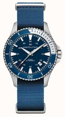 Hamilton   khaki navy taucherautomatik   blaues Gewebeband   blaues Zifferblatt H82345941