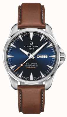 Certina | ds action day-date powermatic 80 | blaues Zifferblatt | brauner Riemen C0324301604100