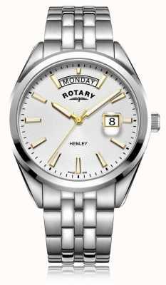 Rotary | herren henley | weißes Zifferblatt | silbernes Edelstahlarmband GB05290/70