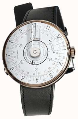 Klokers Klok 08 weißer Uhrenkopf schwarzer Satin-Einzelarmband KLOK-08-D1+KLINK-01-MC1