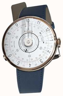 Klokers Klok 08 weißer Uhrenkopf indigoblauer Einzelriemen KLOK-08-D1+KLINK-01-MC3