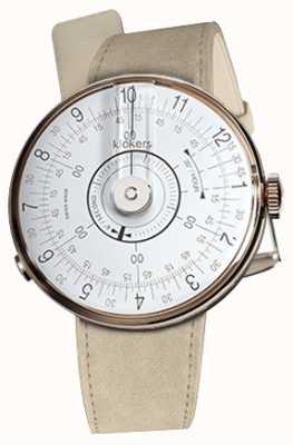 Klokers Klok 08 weißer Uhrenkopf grauer Alcantara-Einzelarmband KLOK-08-D1+KLINK-01-MC6