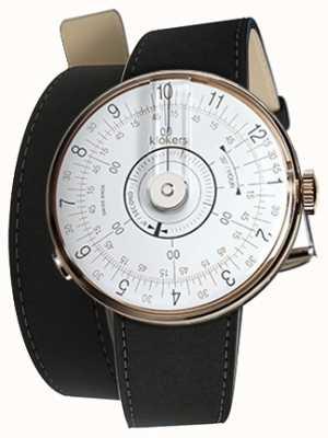 Klokers Klok 08 weiße Uhrenkopfmatte schwarzer Doppelriemen KLOK-08-D1+KLINK-02-380C2