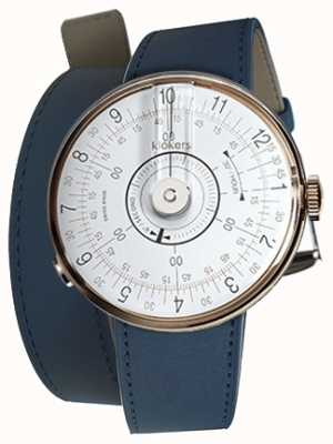 Klokers Klok 08 weißer Uhrenkopf indigoblauer Doppelarmband KLOK-08-D1+KLINK-02-380C3