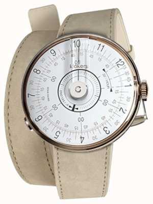 Klokers Klok 08 weißer Uhrenkopf grauer Alcantara-Doppelarmband KLOK-08-D1+KLINK-02-380C6