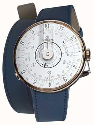 Klokers Klok 08 weisser Uhrenkopf indigoblau 420mm Doppelarmband KLOK-08-D1+KLINK-02-420C3