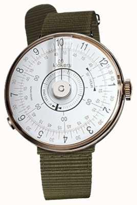 Klokers Klok 08 weißer Uhrenkopf flechtengrüner textiler Einzelarmband KLOK-08-D1+KLINK-03-MC2