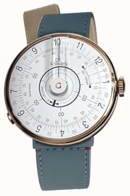 Klokers Klok 08 Weißer Uhrenkopf, blaue Jeanskette mit Einzelriemen KLOK-08-D1+KLINK-04-LC10