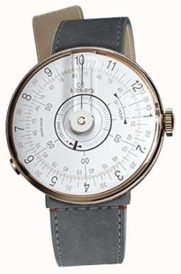 Klokers Klok 08 weisser Uhrenkopf grauer Alcantara-Einzug mit Einzelne KLOK-08-D1+KLINK-04-LC11