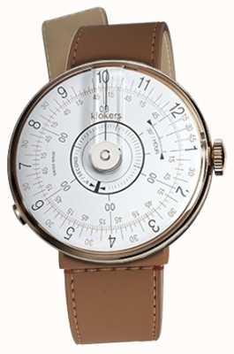 Klokers Klok 08 weisser Uhrenkopf karamellbrauner Einzelriemen KLOK-08-D1+KLINK-04-LC12