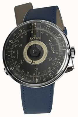 Klokers Klok 08 schwarzes Zifferblatt mit indigoblauem Armband KLOK-08-D3+KLINK-01-MC3