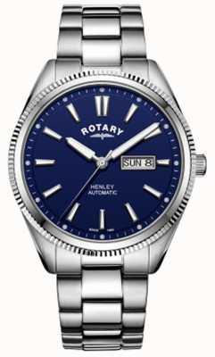Rotary | Herren Henley | gezackte Lünette | blaues Zifferblatt | rostfreier Stahl GB05380/05