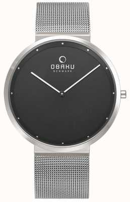 Obaku | Herren Papir Onyx | silbernes mesh armband | schwarzes Zifferblatt | V230GXCBMC