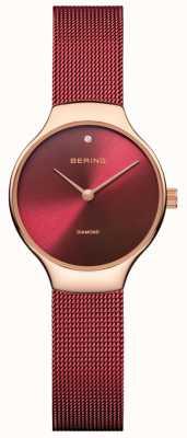 Bering | Damen-Wohltätigkeitsuhr | rotes Maschenband | rotes Zifferblatt | 13326-CHARITY