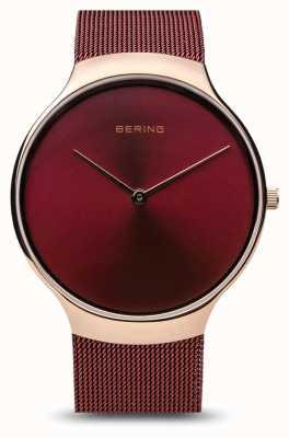 Bering | Damen-Wohltätigkeitsuhr | rotes Maschenband | rotes Zifferblatt | 13338-CHARITY