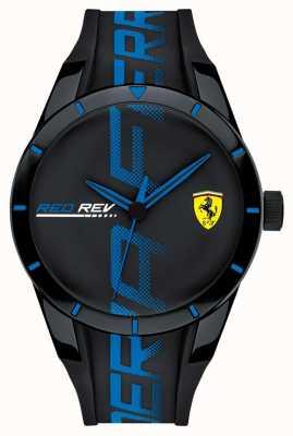 Scuderia Ferrari | redrev für männer | schwarzblaues Silikonband | schwarzes Zifferblatt | 0830616