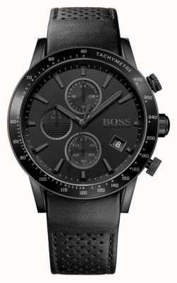 Hugo Boss | Herren Rafale Chronograph | schwarzes Zifferblatt | schwarzes Lederarmband 1513456