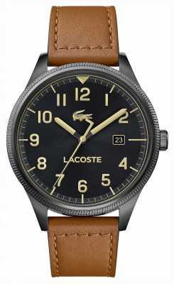 Lacoste | kontinentale Männer | braunes Lederarmband | schwarzes Zifferblatt | 2011021