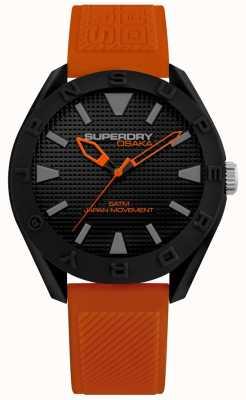 Superdry | Herren Osaka | orange Silikonband | schwarzes Zifferblatt | SYG243OB
