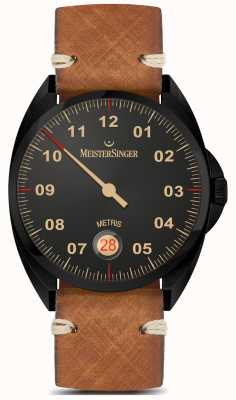MeisterSinger Metris - schwarze Linie braunes Lederarmband schwarzes Zifferblatt ME902BL