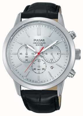 Pulsar | herren chronograph | silbernes Zifferblatt | schwarzes Lederband | PT3749X1