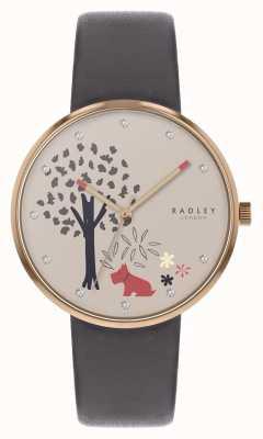 Radley | graues Lederband für Damen | Baum und Hund Motiv Zifferblatt RY2788