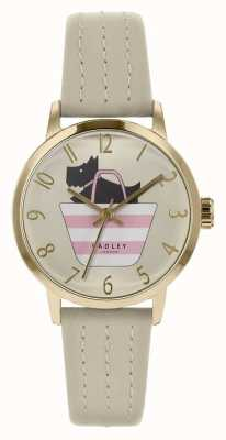 Radley | graues Lederband für Damen | bedruckter Hund im Taschenzifferblatt | RY2790