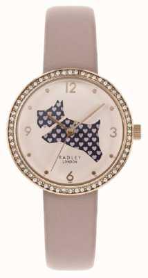 Radley | rosafarbenes Lederband der Frauen | Hundezifferblatt ausschneiden | Kristall gesetzt RY2806
