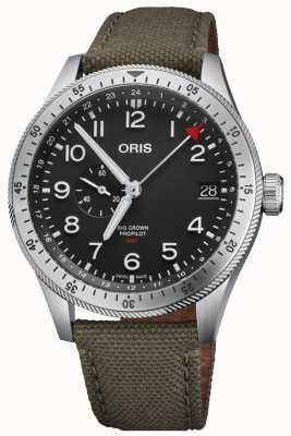 Oris | große Krone Propilot Timer gmt | grünes Textilband | 01 748 7756 4064-07 3 22 02LC