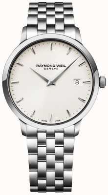 Raymond Weil Herrenuhr aus Tccata-Armband mit cremefarbenem Zifferblatt aus Edelstahl 5488-ST-40001