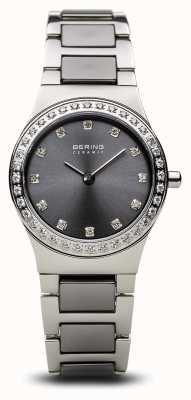 Bering | Damen Keramik Silber poliert | Kristallgarnitur | graues Zifferblatt | 32426-703