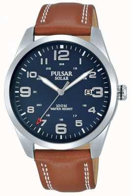 Pulsar   braunes Lederarmband für Herren   blaues Zifferblatt   PX3189X1