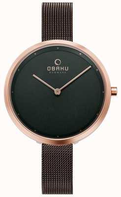 Obaku | dok walnuss für damen | braunes mesh armband | braunes Zifferblatt | V227LXVNMN
