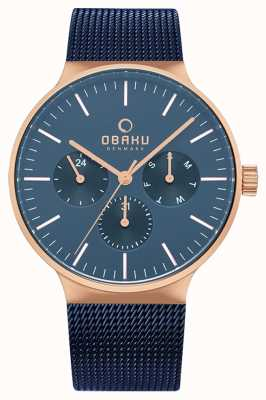 Obaku | Herren Mos Ozean | blaue Masche | blaues Chronographenzifferblatt | V229GMVLML