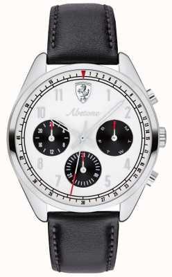 Scuderia Ferrari Mens abetone schwarzes Lederarmband Uhr weißes Zifferblatt 0830569