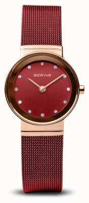 Bering Frauen | klassisch | rotes pvd stahlgeflecht armband 10126-363