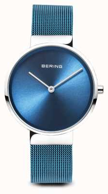 Bering Frauen | klassisch | blaues pvd plattiertes stahl mesh armband 14531-308