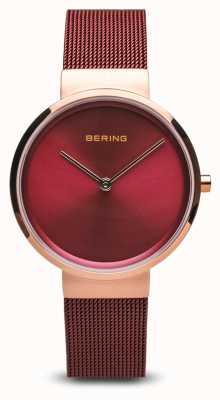 Bering Frauen | klassisch | rotes pvd überzogenes Stahlmaschenarmband 14531-363