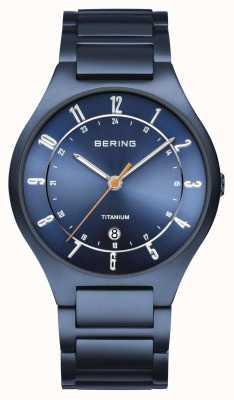 Bering Herren | titan | blaues Zifferblatt | blaues Armband 11739-797