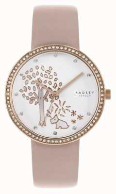 Radley | nacktes Leder für Damen weißes Baumzifferblatt | Kristallbesetzte Lünette RY2836