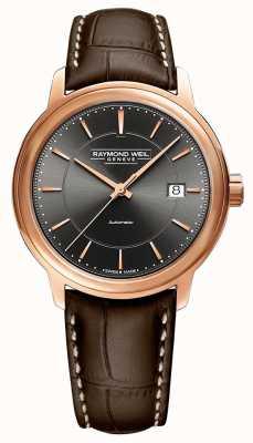 Raymond Weil | Herren Maestro | braunes Lederband | graues Zifferblatt | 2237-PC5-60011