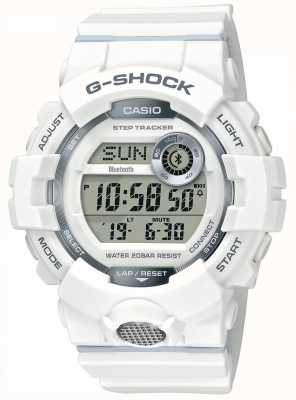 Casio | g-shock | Sportuhr, Step Tracker | weißes Kautschukband GBD-800-7ER