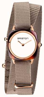 Briston | klubmeisterin dame | einzelnes taupe nato armband | roségold pvd 19924.PRA.T.2.NT